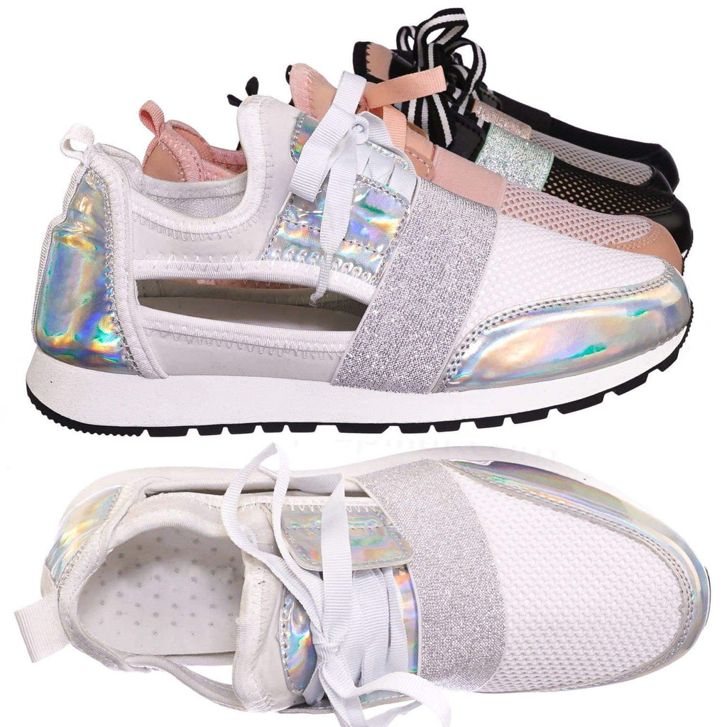 White Silver / Club01 WhtSlv Athleisure Cutout Elastic Sneaker - Architectural Trainer Chunky Platform