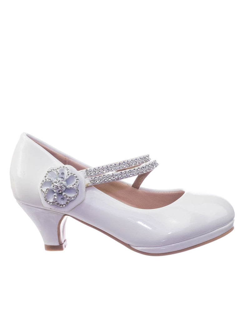 Dana18K White Children Girl High Heel Dress Pump w Rhinestone Crystal Rose Mary Jane