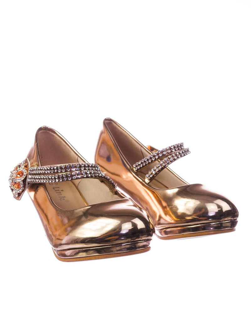Dana18K Rose Gold Children Girl High Heel Dress Pump w Rhinestone Crystal Rose Mary Jane
