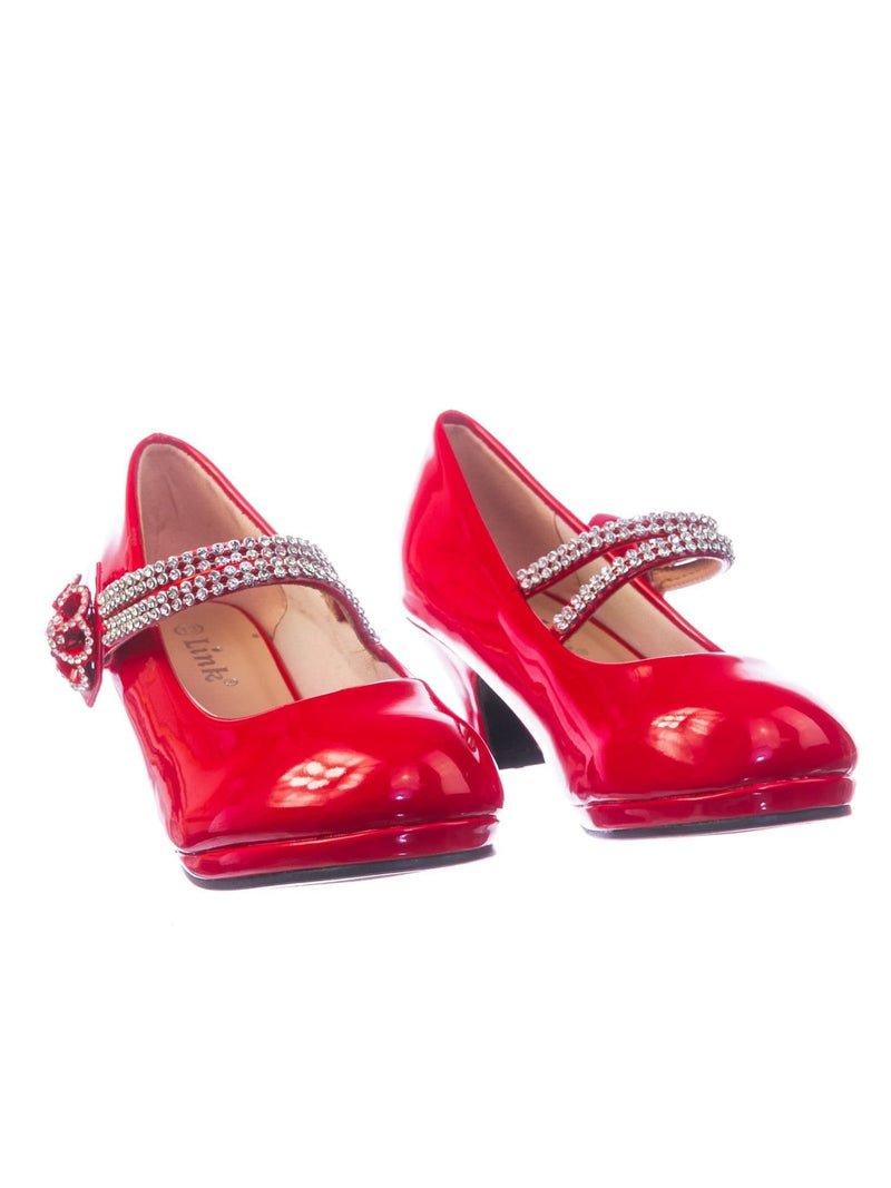 Dana18K Red Patent Children Girl High Heel Dress Pump w Rhinestone Crystal Rose Mary Jane