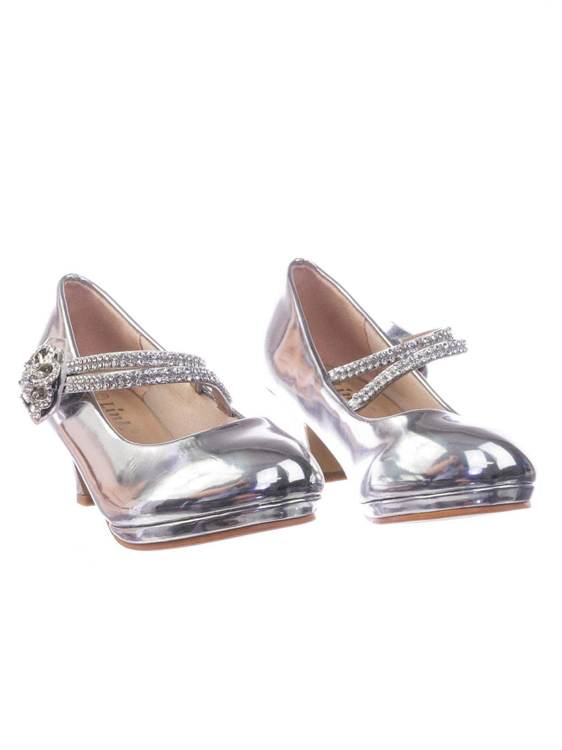 Dana18K Silver Children Girl High Heel Dress Pump w Rhinestone Crystal Rose Mary Jane
