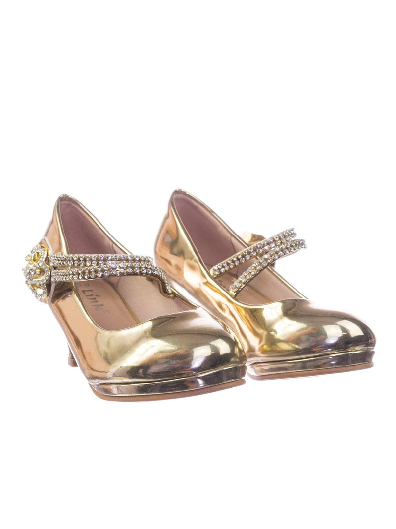 Dana18K Gold Children Girl High Heel Dress Pump w Rhinestone Crystal Rose Mary Jane