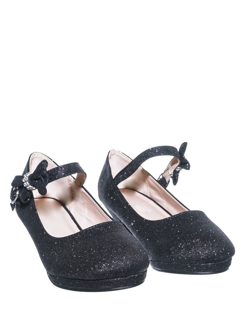 52 Black / Dana52K 52 Black Girl Rounded Toe Mary Jane Pump - Children Kid Glitter Rhinestone Bow