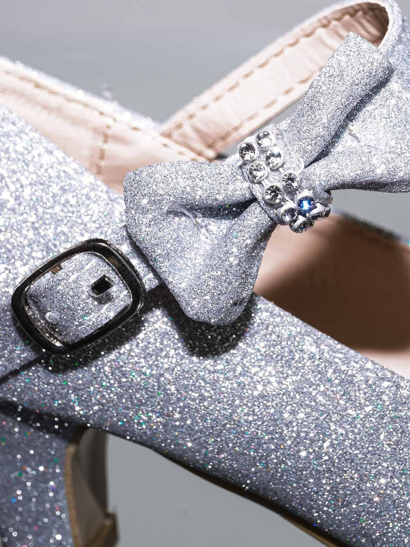 52 Silver / Dana52K 52 Silver Girl Rounded Toe Mary Jane Pump - Children Kid Glitter Rhinestone Bow