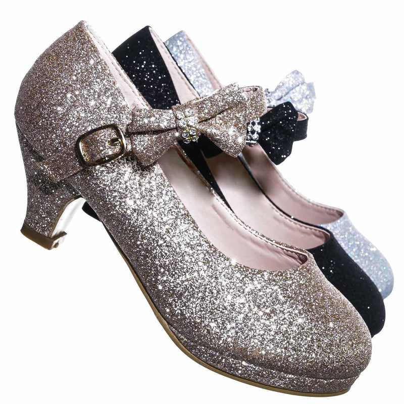 52 Champagne Gold / Dana52K 52 Champagne Gold Girl Rounded Toe Mary Jane Pump - Children Kid Glitter Rhinestone Bow