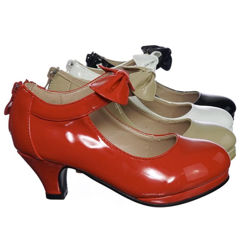 Dana64K Red Children Little Girl Platform Medium Heel Dress Pump w Mary-Jane Bow