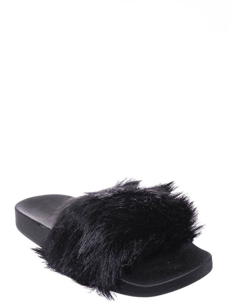 Solid Black / Delma30 Fuzzy Faux Fur Slides - Molded Footbed Shaggy Fluffy Flat Sandal