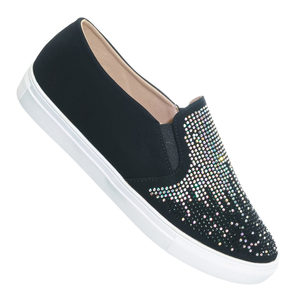 Black / Design07 Black Rhinestone Crystal Slip On Sneaker - Women Sparkling Sporty Loafer