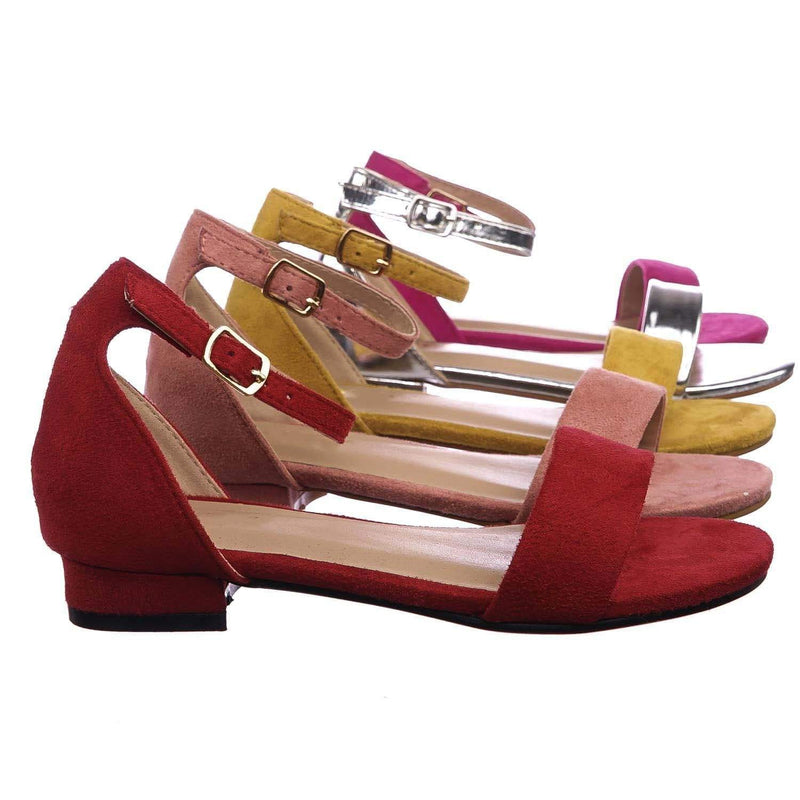 Encircle01 Red Children Girl Low Block Heel Open Toe Ankle Strap Sandal