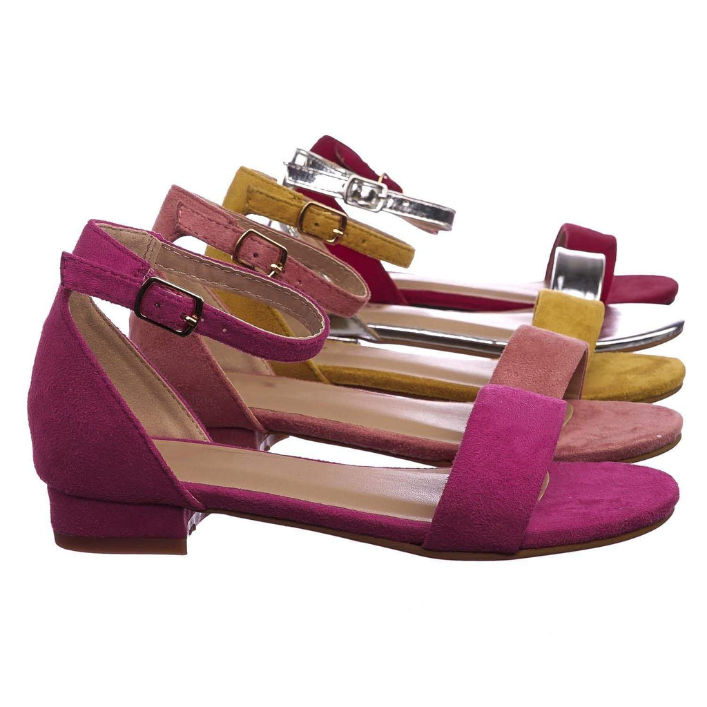 Encircle01 Fuchsia Pink Children Girl Low Block Heel Open Toe Ankle Strap Sandal