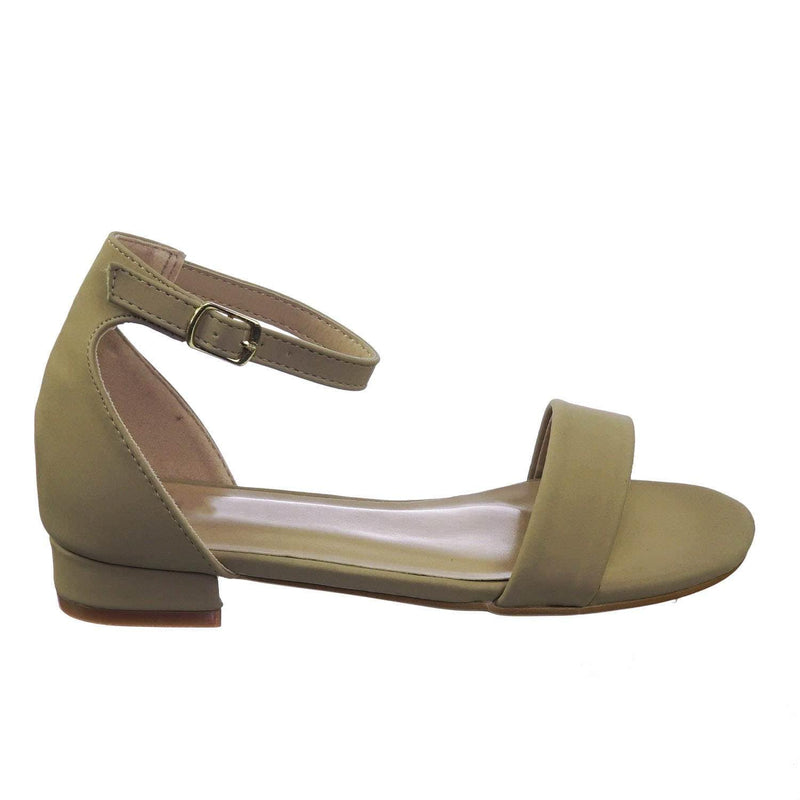 Encircle01 Taupe Beige Children Girl Low Block Heel Open Toe Ankle Strap Sandal