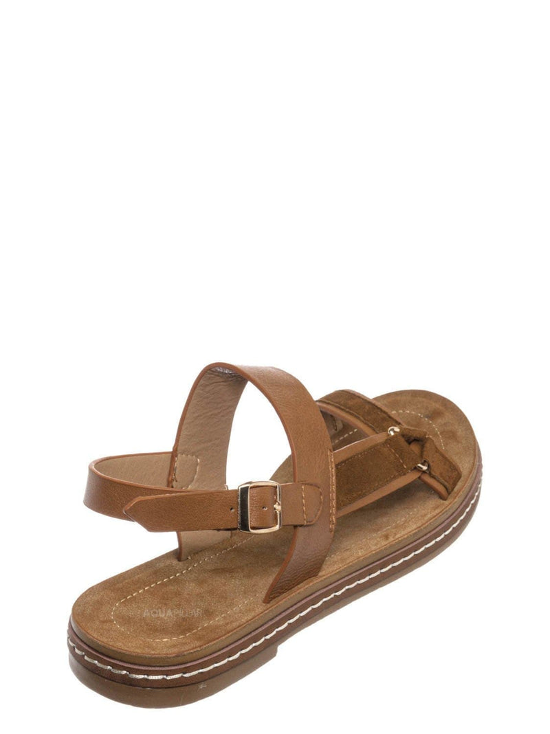 Tan Brown / Enhance69 Molded Sporty Strap Sandal - Womens Footbed Platform Sportswear