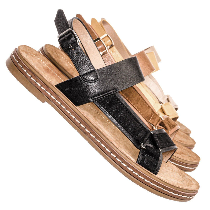 Black Pu / Enhance69 Molded Sporty Strap Sandal - Womens Footbed Platform Sportswear