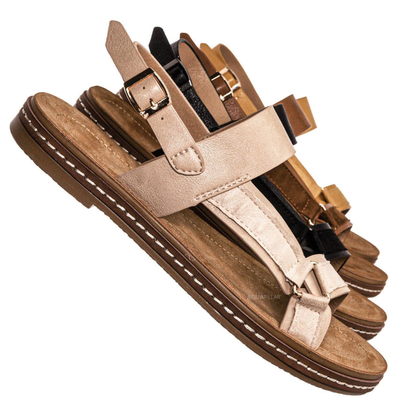 Beige Pu / Enhance69 Molded Sporty Strap Sandal - Womens Footbed Platform Sportswear