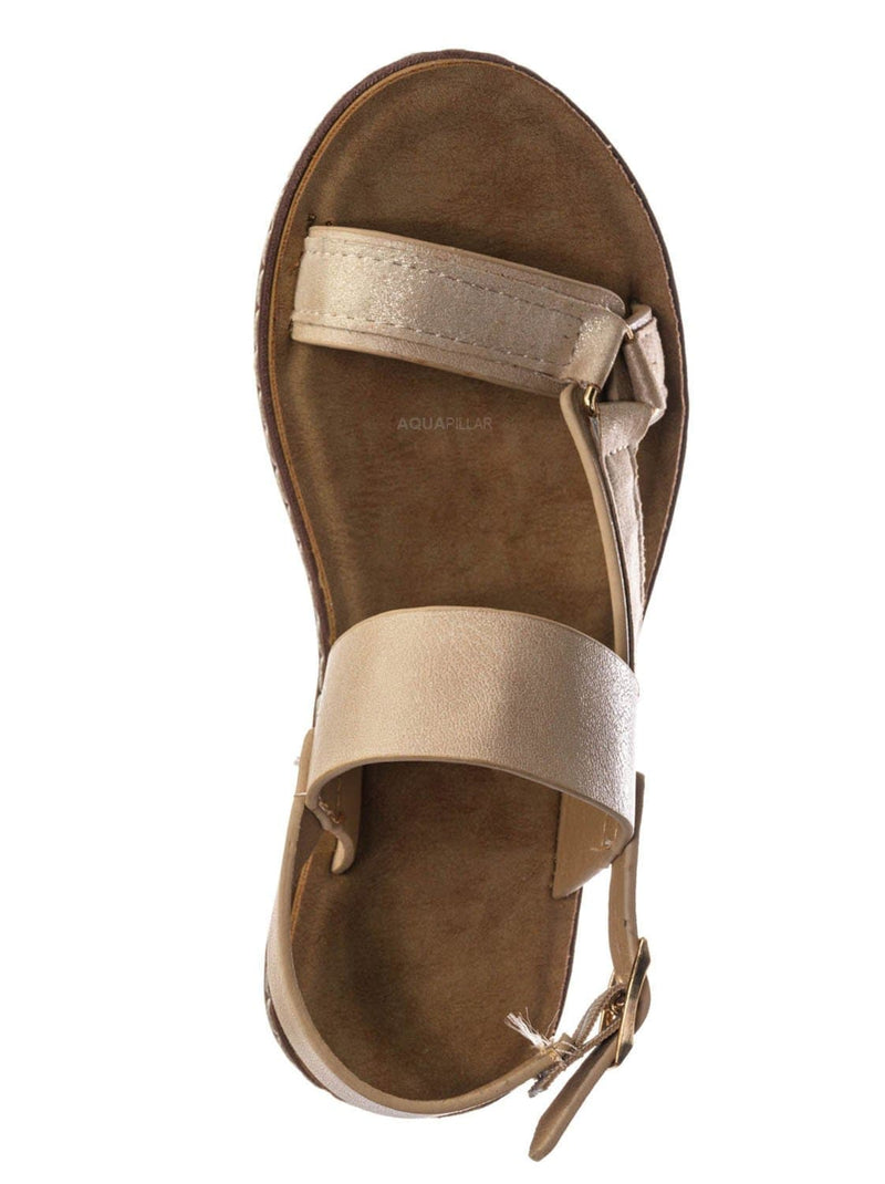 Beige Pu / Enhance69K Kids Molded Sporty Strap Sandal - Children Footbed Sportswear