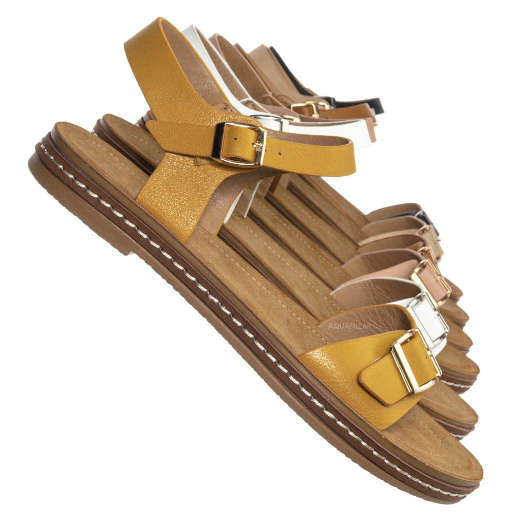 Enhance88 Molded Footbed Flat Sandal - Women Flexible Yoga Outsole w Ankle Strap