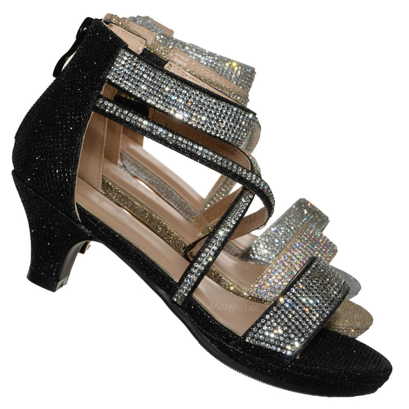 Black Glitter / Excited104K Girls Glitter Rhinestone Dress Sandal - Kid Bling Wedding Event Shoe
