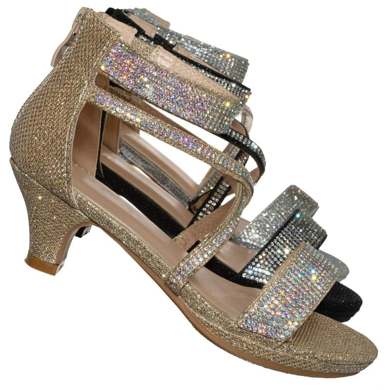 Champagne Gold / Excited104K Girls Glitter Rhinestone Dress Sandal - Kid Bling Wedding Event Shoe