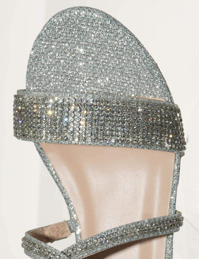 Silver Glitter / Excited104K Girls Glitter Rhinestone Dress Sandal - Kid Bling Wedding Event Shoe