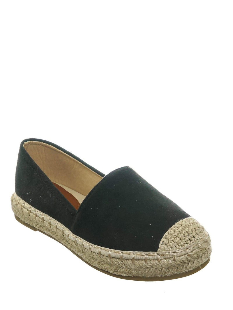 Black F-Suede / Expo17K Black F-Suede Childerns Espadrille Flatform Sneakers - Girls Slip On Braided Shoes