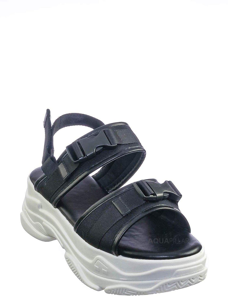 Black / Fancy3 Athleisure Chunky Platform Sporty Sandal - Elastic Hook & Loop Slingbacks