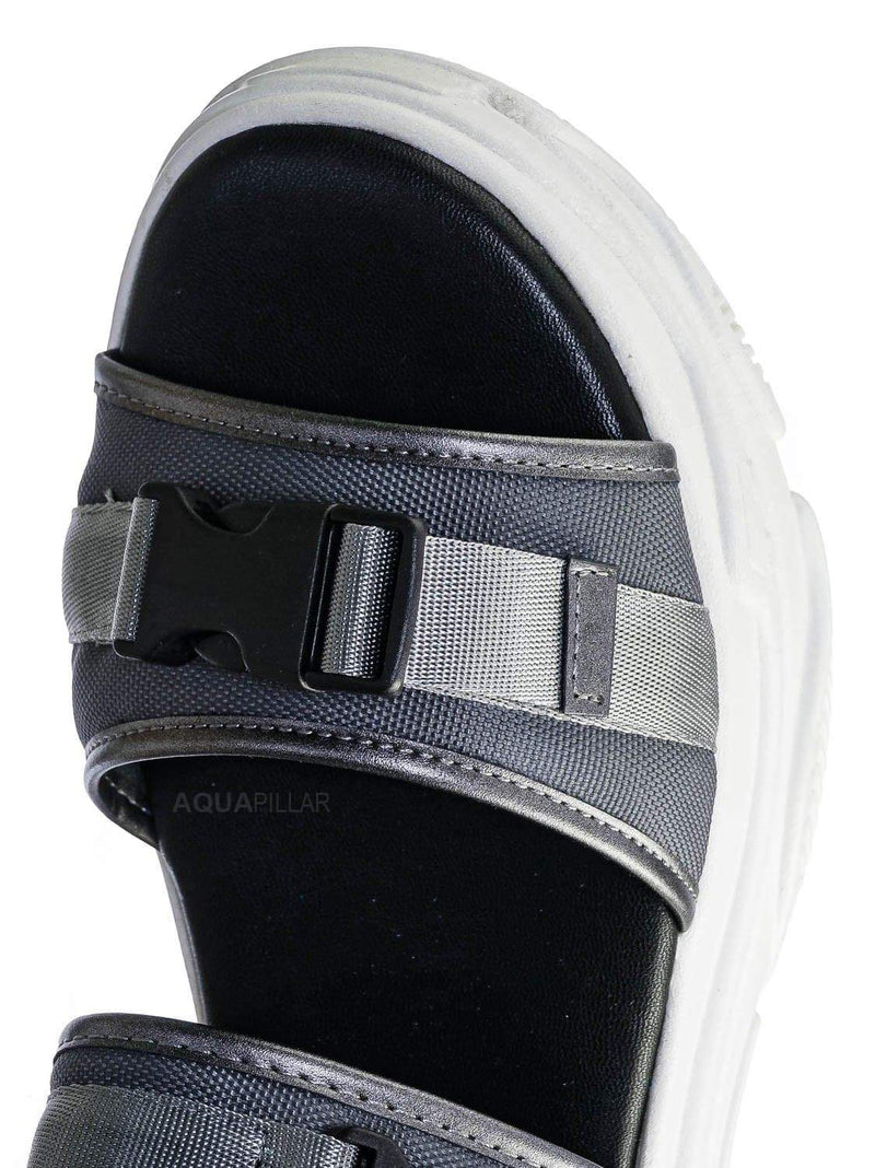 Gray / Fancy3 Athleisure Chunky Platform Sporty Sandal - Elastic Hook & Loop Slingbacks