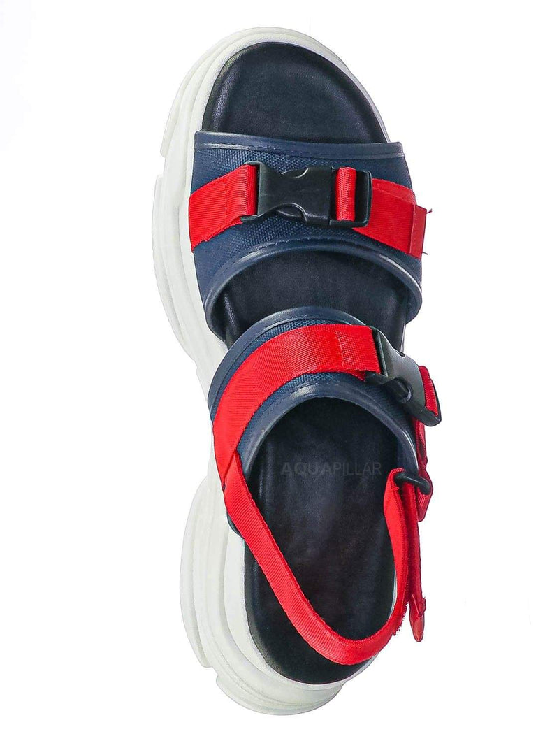 Red Navy / Fancy3 Athleisure Chunky Platform Sporty Sandal - Elastic Hook & Loop Slingbacks