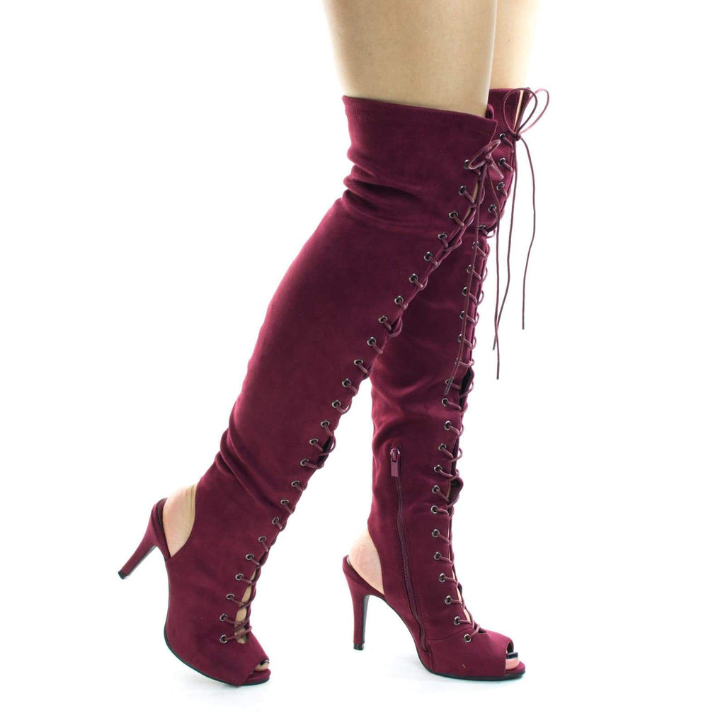 Fancy9 Wine by Forever Link, Women Over Knee Corset Military Lace Up Boot, Over Knee & Peep Toe