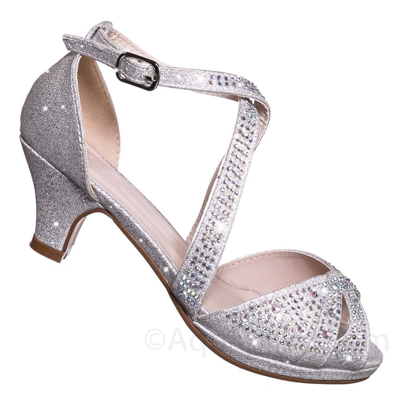 Fantastic 90 Cross Strap Silver Children Girl Bling High Block Heel Dress Sandal, Rhinestone Glitter