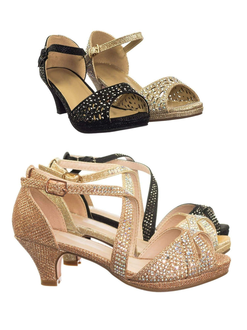 Fantastic 90 Cross Strap Rose Gold Children Girl Bling High Block Heel Dress Sandal, Rhinestone Glitter