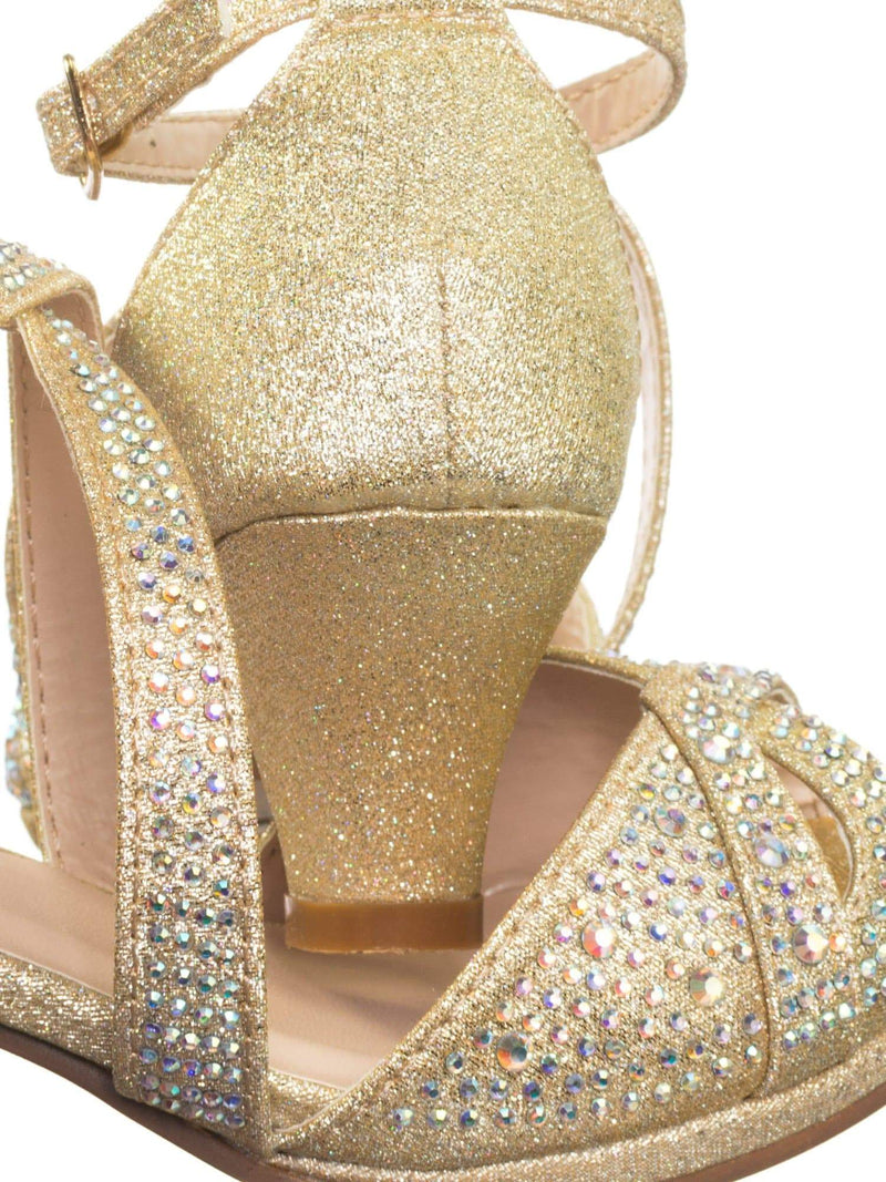 Fantastic 90 Cross Strap Champagne Gold Children Girl Bling High Block Heel Dress Sandal, Rhinestone Glitter