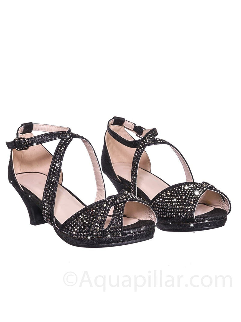 Fantastic 90 Cross Strap Black Children Girl Bling High Block Heel Dress Sandal, Rhinestone Glitter