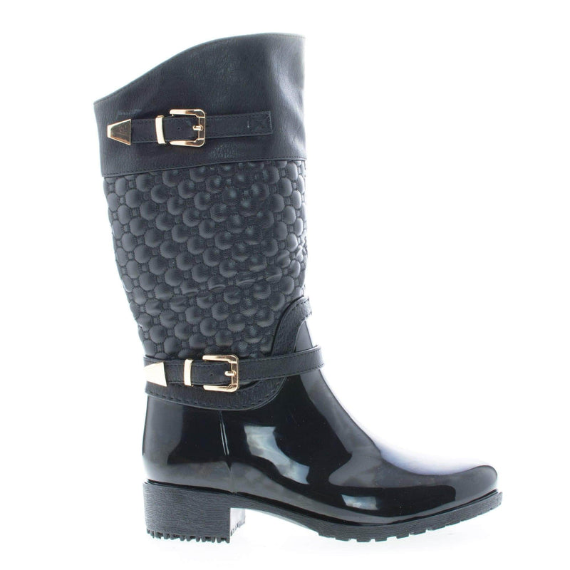 Fatima27K Black Pu By Link, Children Girls Mid Calf Quilted Buckled Shaft Rain Boots