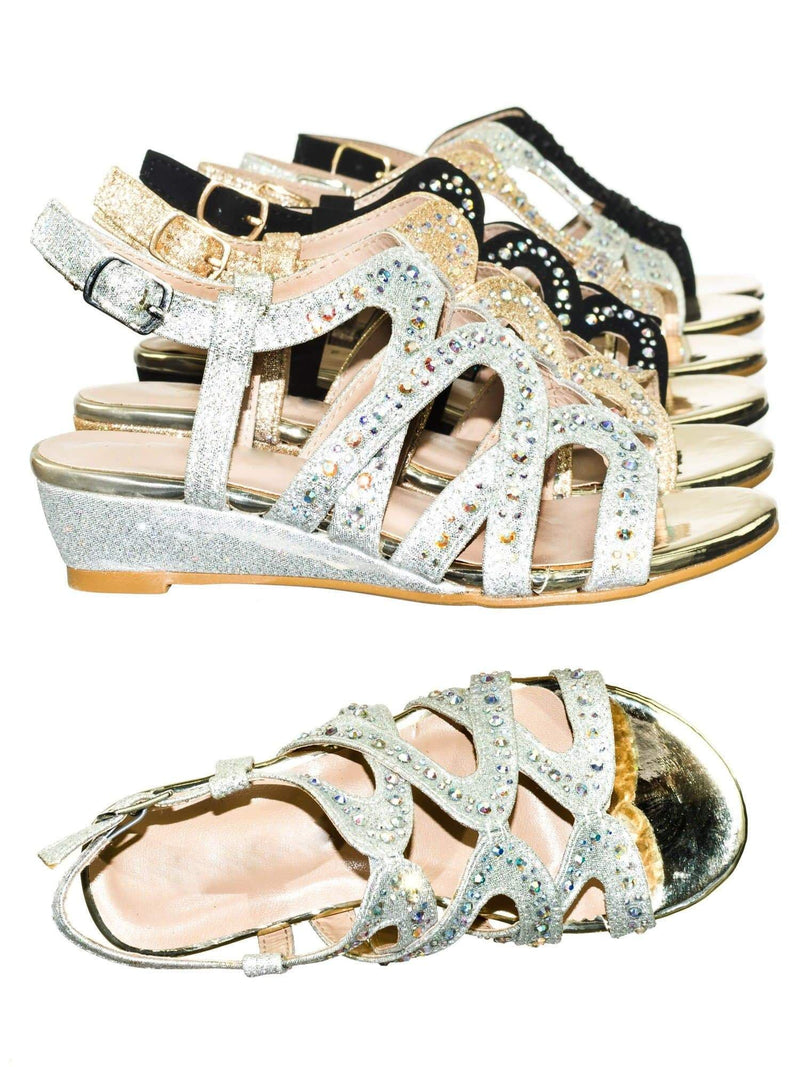 Finder Cage Silver Children Girls Glitter Rhinestone Open Toe Party Wedding Dress Sandal