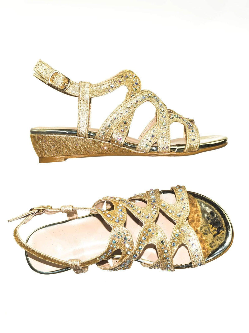 Finder Cage Champagne Gold Children Girls Glitter Rhinestone Open Toe Party Wedding Dress Sandal