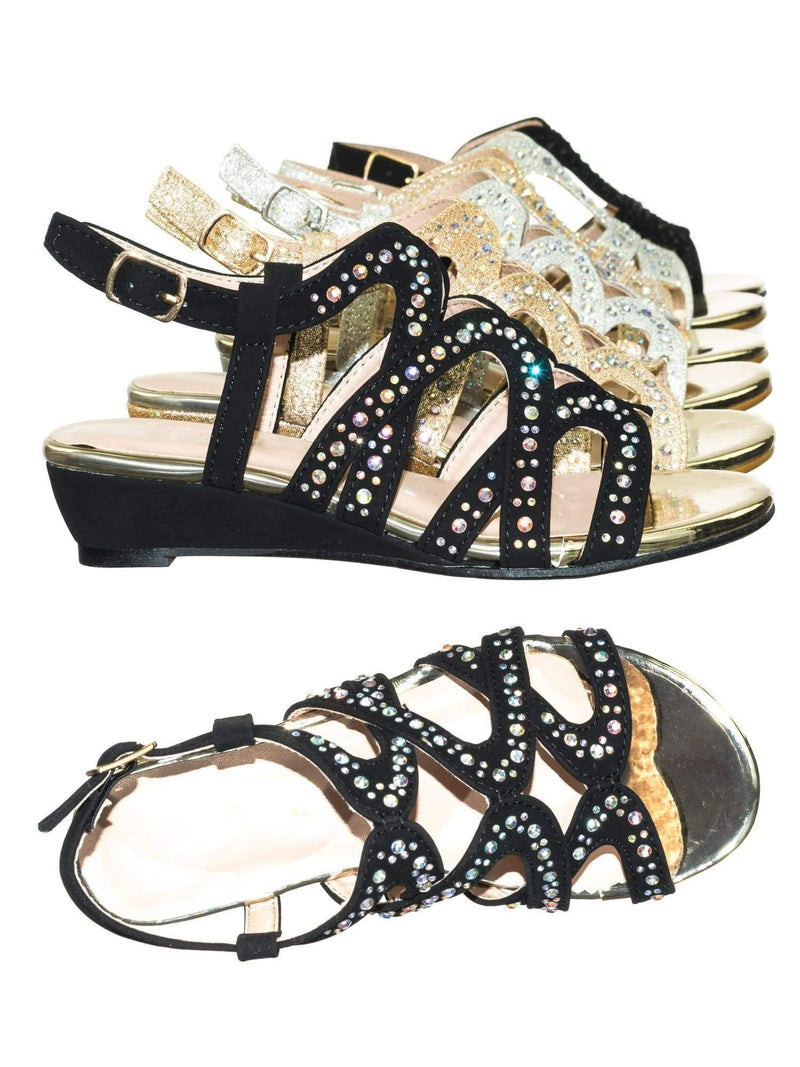 Finder Cage Black Children Girls Glitter Rhinestone Open Toe Party Wedding Dress Sandal