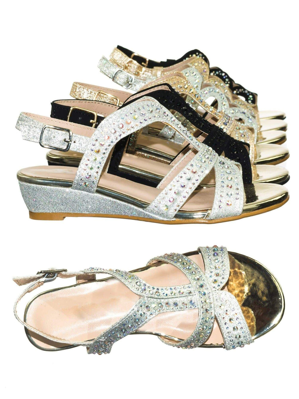 Finder T-Strap Silver Children Girls Glitter Rhinestone Open Toe Party Wedding Dress Sandal