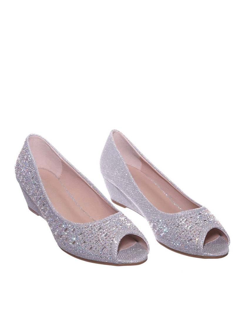 Silver Pu / Fisher1 Silver Rhinestone Crystal Low Wedge Pump - Women Peep Toe Shinny Diamond Shoe