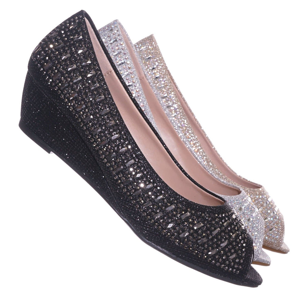 Black Pu / Fisher1 Black Rhinestone Crystal Low Wedge Pump - Women Peep Toe Shinny Diamond Shoe