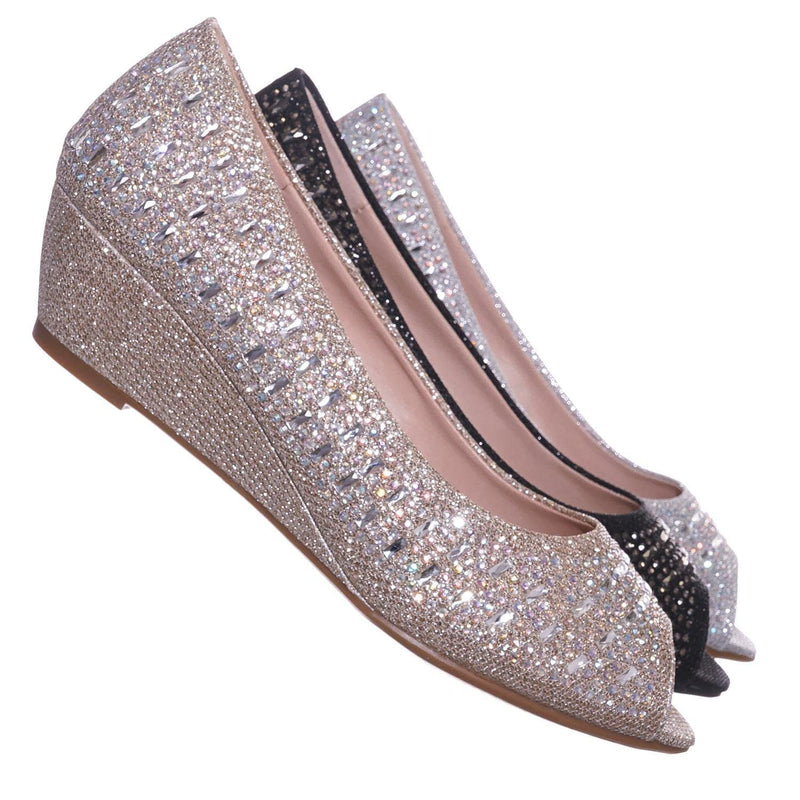 Champagne Gold / Fisher1 Champgn Rhinestone Crystal Low Wedge Pump - Women Peep Toe Shinny Diamond Shoe