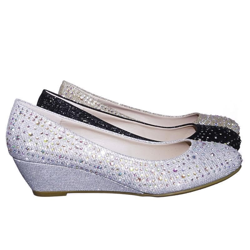 Fisher2 Silver Rhinestone Embellished Mesh Glitter On Low Wedge Dress Pump