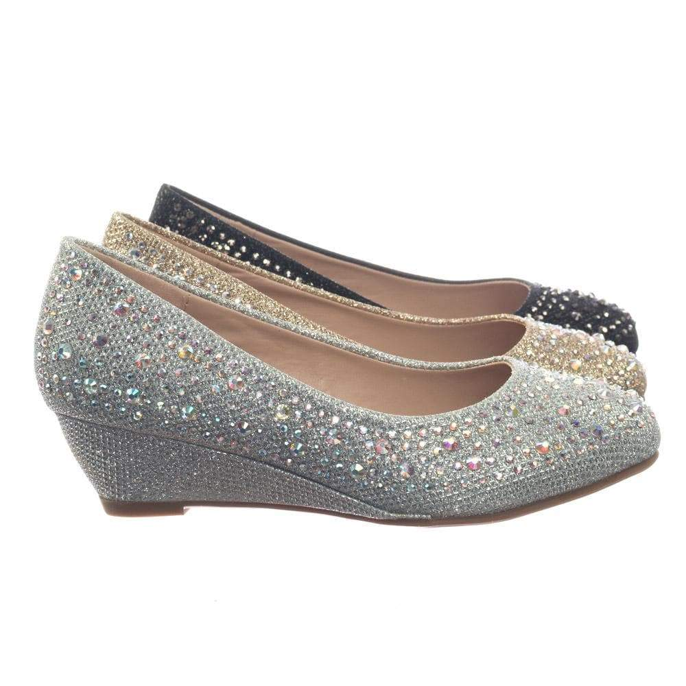 Fisher2K Link, Children Girl's Sparkling Glitter Rhinestone Crystal Wedge Dress Pump
