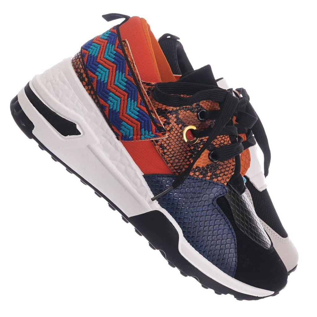 Orange Snake / Flamingo01 OrgSnk Chunky Daddy Platform Sneaker - Women Jogger Color Block Retro Shoe