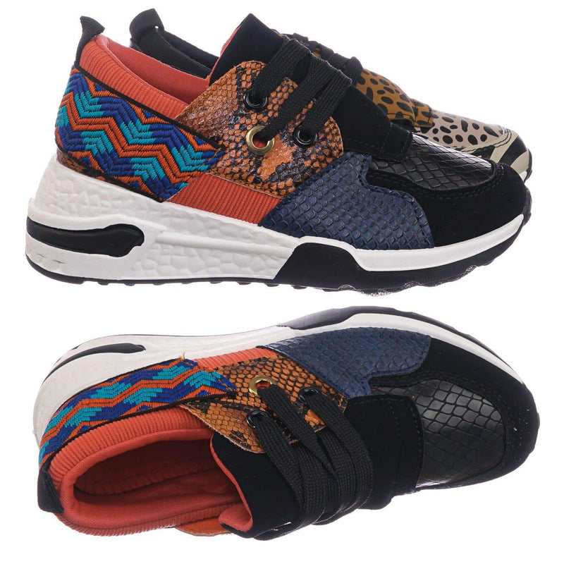 Orange Snake / Flamingo01K Orange Snake Kids Unisex Animal Print Trainer - Children Color Chunky Sneaker