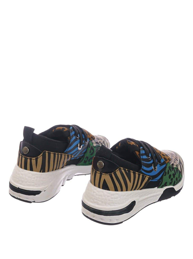 Multi Animal Print / Flamingo01K Multi Animal Print Kids Unisex Animal Print Trainer - Children Color Chunky Sneaker