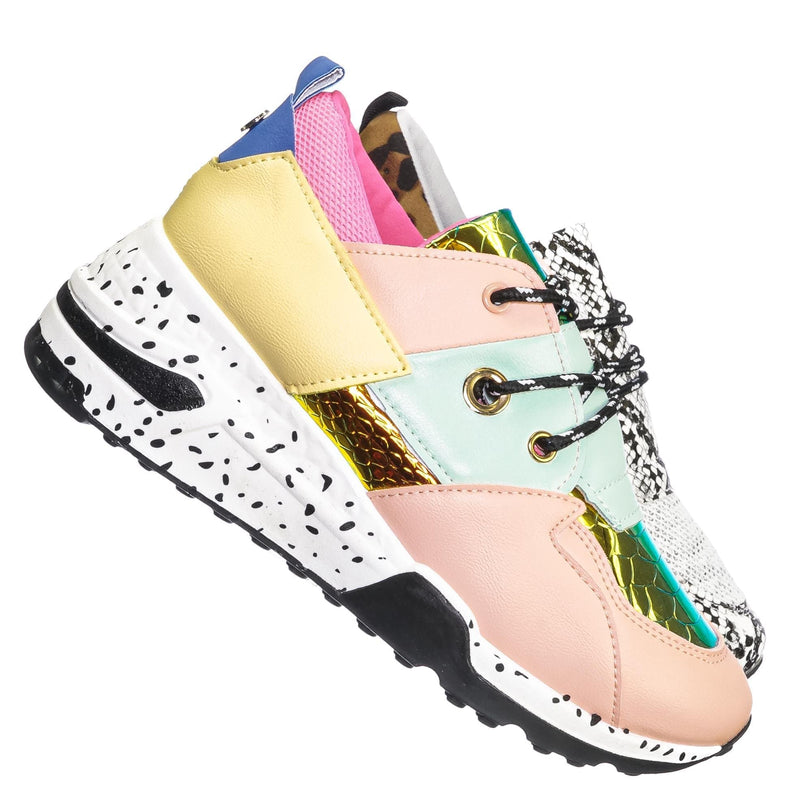 Multi 1 / Galaxy01 Chunky Daddy Platform Sneaker - Women Jogger Color Block Retro Shoe