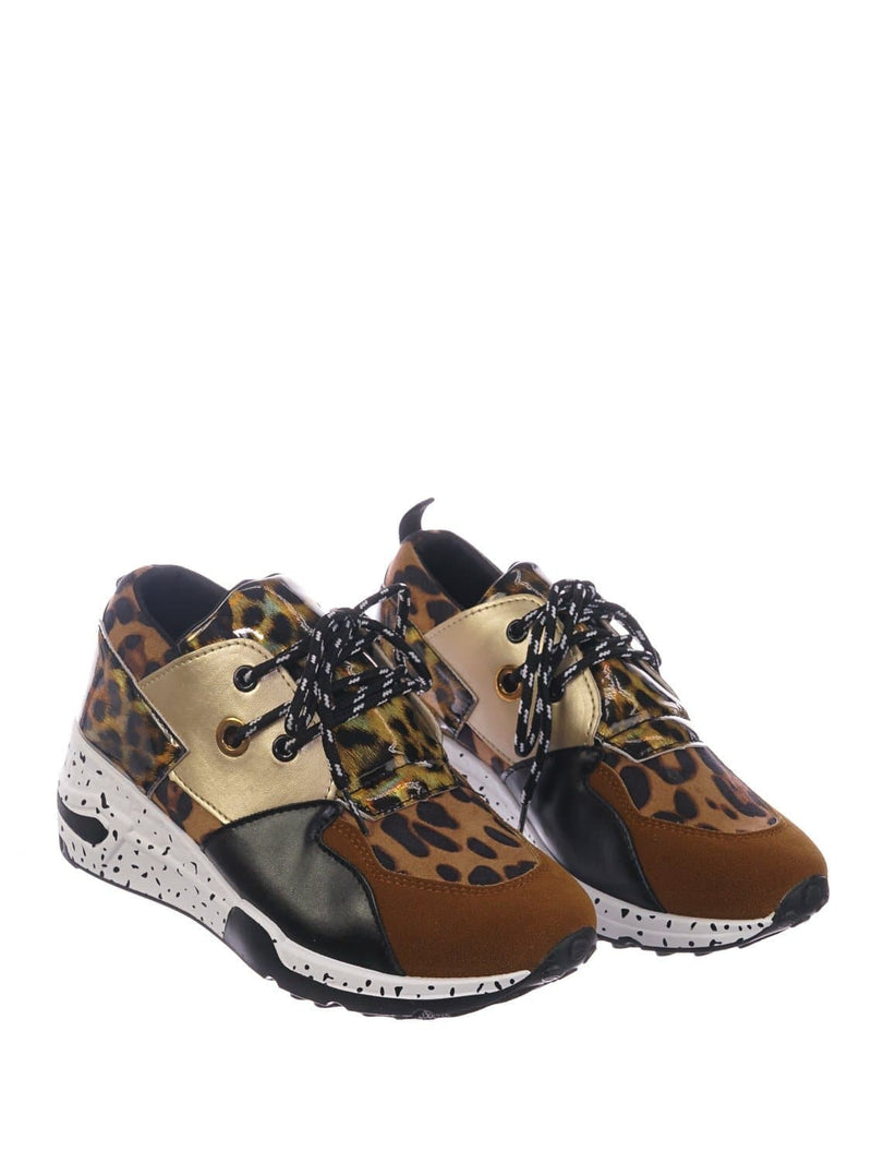 Brown Leopard / Galaxy01 Chunky Daddy Platform Sneaker - Women Jogger Color Block Retro Shoe