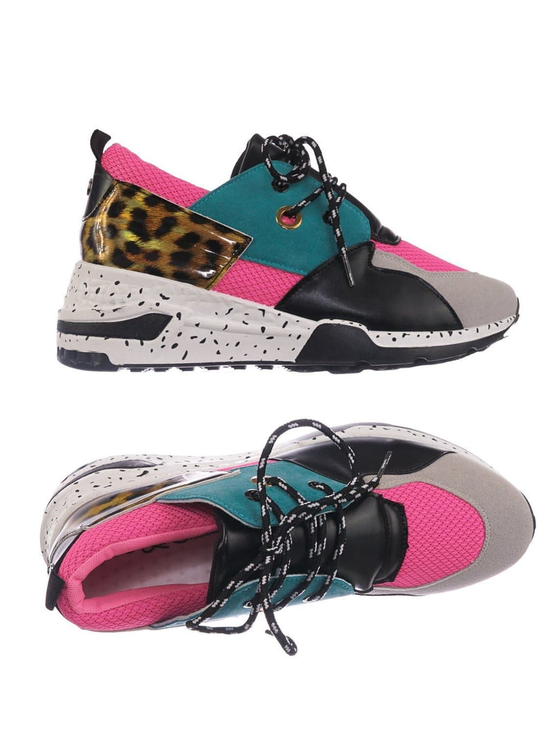 Pink Blue / Galaxy01 Chunky Daddy Platform Sneaker - Women Jogger Color Block Retro Shoe