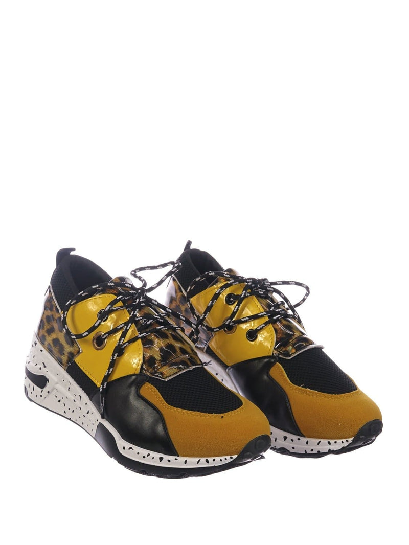 Yellow Leopard / Galaxy01 Chunky Daddy Platform Sneaker - Women Jogger Color Block Retro Shoe