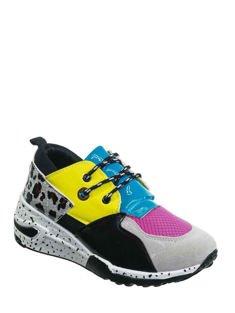 Blue Yellow / Galaxy01 Chunky Daddy Platform Sneaker - Women Jogger Color Block Retro Shoe